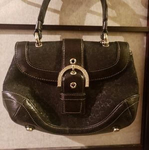 COACH Evening Bag Crystals Black Leather